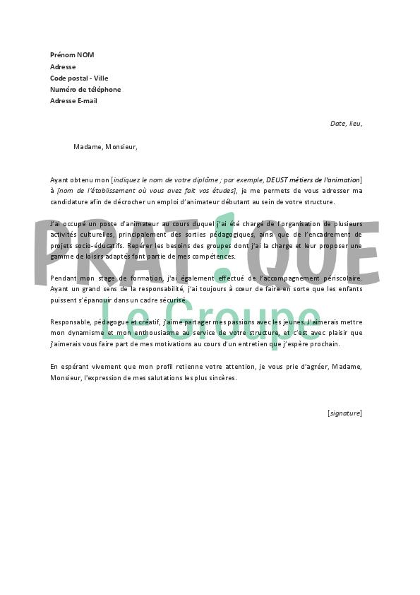 lettre de motivation pour un emploi d u2019animateur d u00e9butant