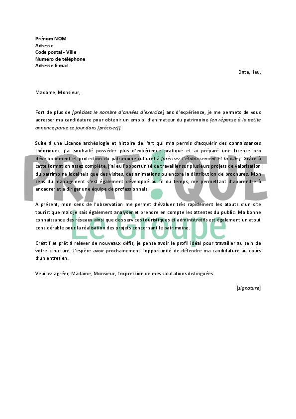 lettre de motivation pour un emploi d u2019animateur du patrimoine confirm u00e9