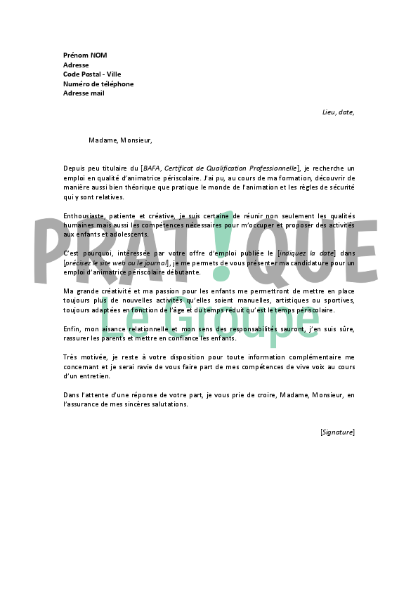 lettre de motivation animatrice periscolaire mairie
