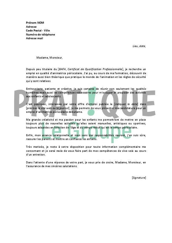 lettre de motivation pour un emploi d u2019animatrice p u00e9riscolaire d u00e9butante