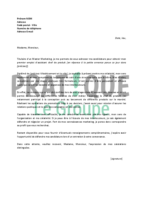 lettre de motivation pour un emploi d assistant chef de produit d butant. Black Bedroom Furniture Sets. Home Design Ideas