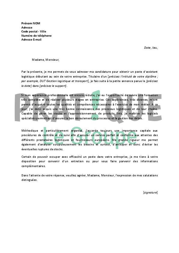 lettre de motivation pour un emploi d u2019assistant logistique