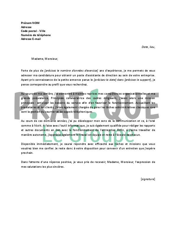 lettre de motivation pour un emploi d u2019assistante de direction confirm u00e9e