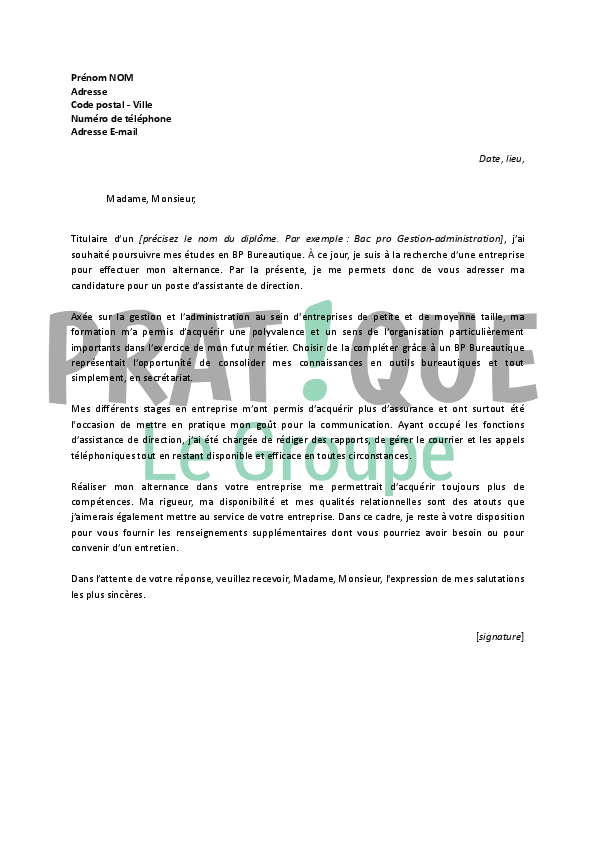 lettre de motivation pour un emploi d u2019assistante de direction en alternance