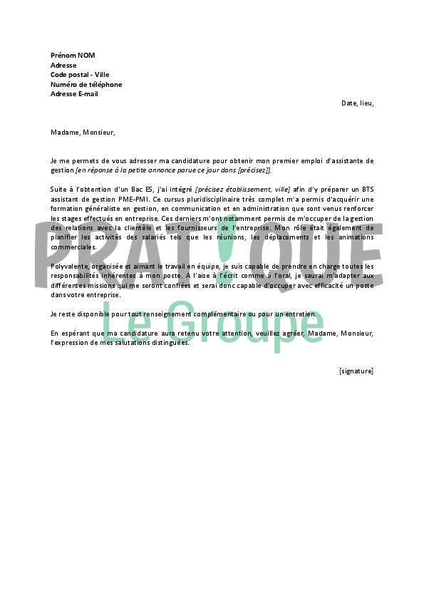 lettre de motivation assistante de gestion administrative