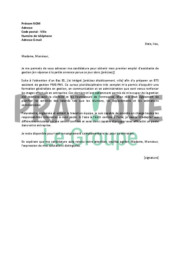 lettre de motivation pour un emploi d u2019assistante de gestion d u00e9butante