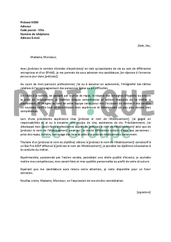 lettre de motivation pour un emploi d u2019assistante de vie