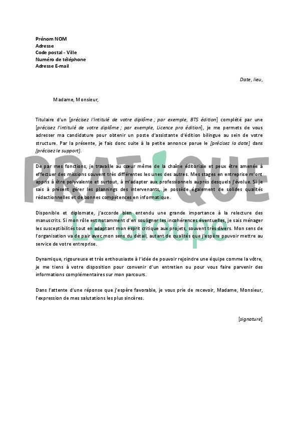 lettre de motivation pour un emploi d u2019assistante d u2019 u00e9dition