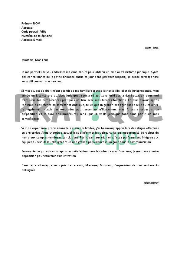 lettre de motivation pour un emploi d assistante juridique d 233 butante pratique fr