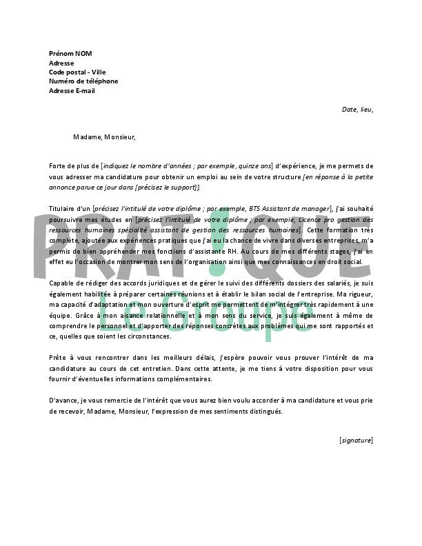 lettre de motivation pour un emploi d u2019assistante rh