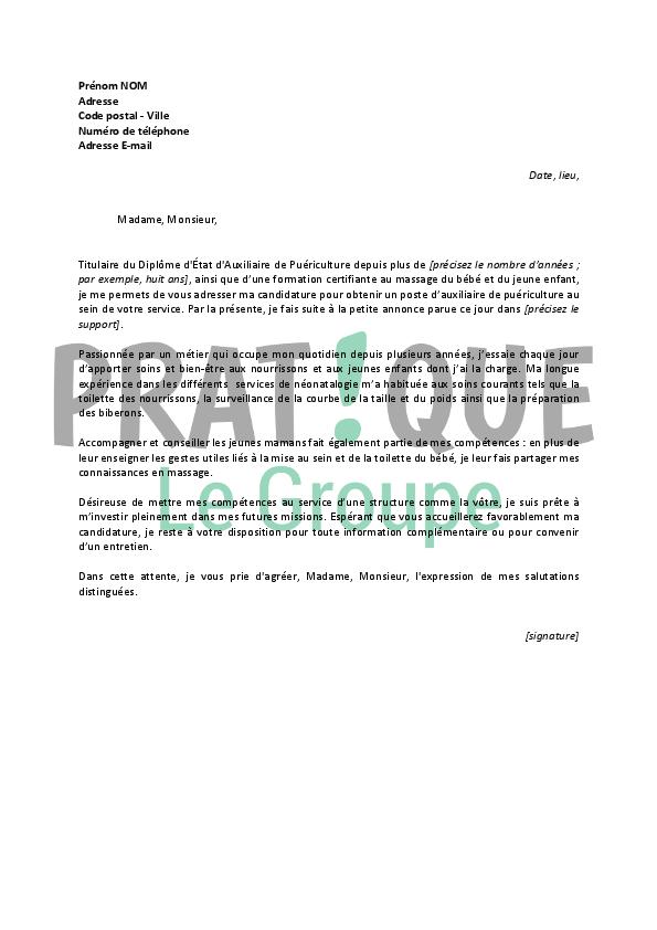 lettre de motivation pour un emploi d u2019auxiliaire de pu u00e9riculture confirm u00e9e