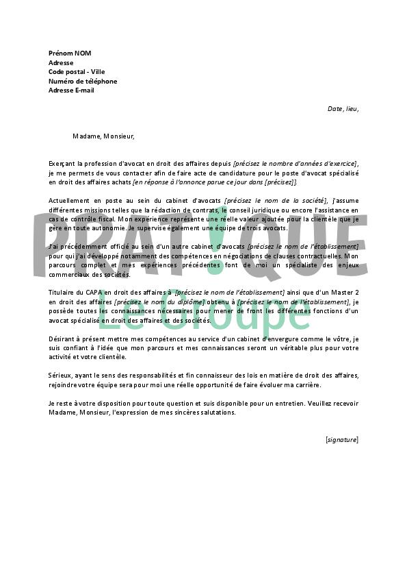lettre de motivation pour un emploi d u2019avocat en droit des affaires confirm u00e9