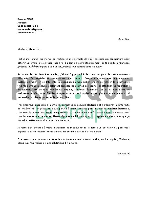 lettre de motivation pour un emploi d u2019 u00e9lectricien