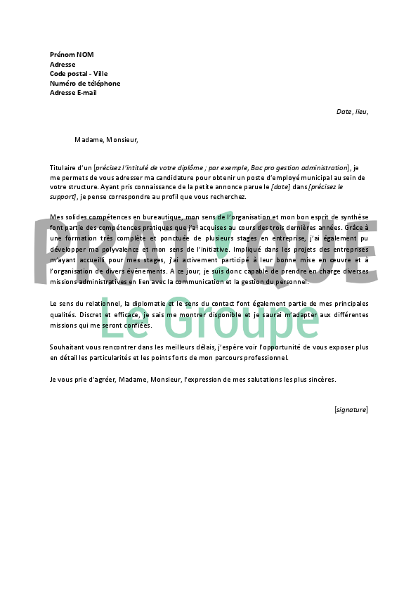 lettre de motivation pour un emploi d u2019employ u00e9 municipal d u00e9butant