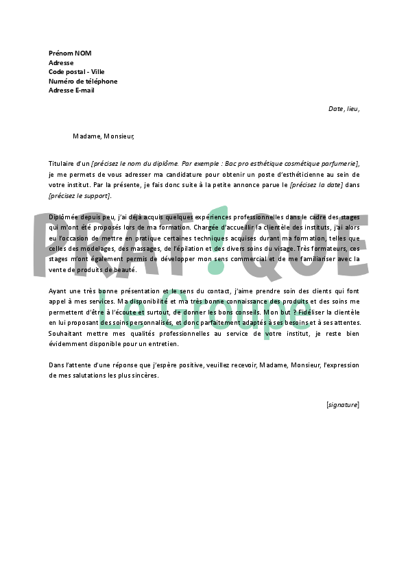 modele lettre de motivation vendeuse parfumerie