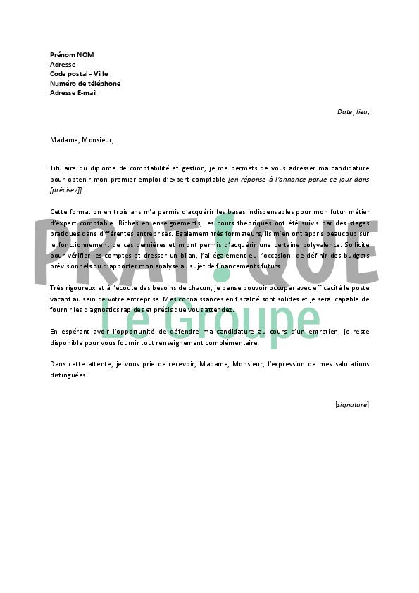lettre de motivation pour un emploi d u2019expert comptable d u00e9butant