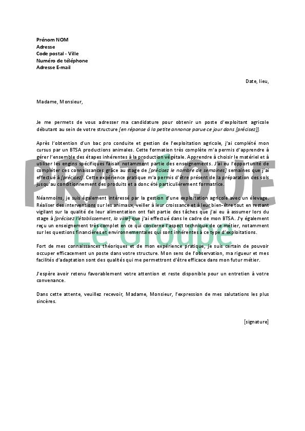 lettre de motivation pour un emploi d u2019exploitant agricole