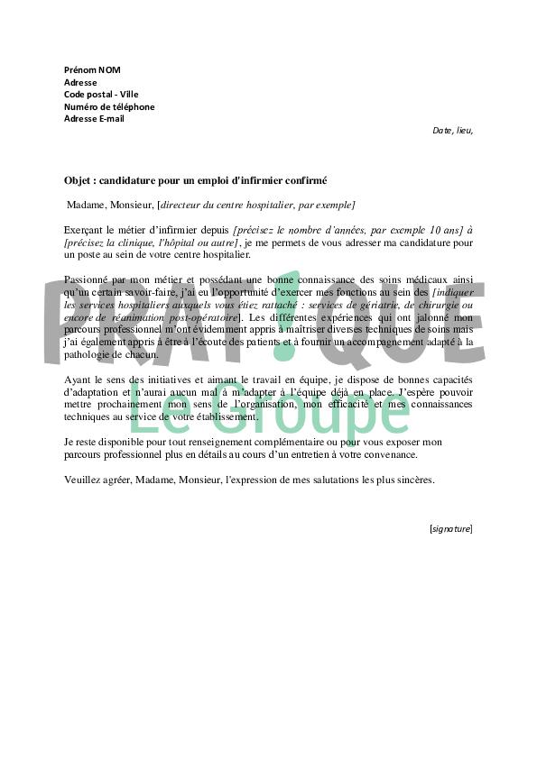 lettre de motivation pour un emploi d u2019infirmier confirm u00e9