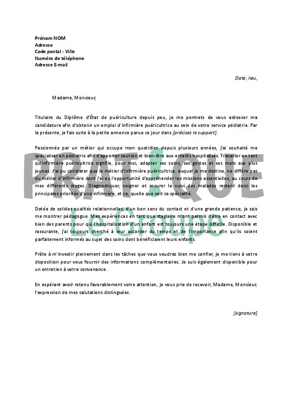 lettre de motivation stage infirmier pediatrie