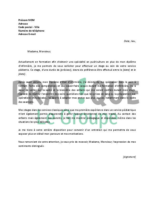 lettre de motivation infirmiere puericultrice