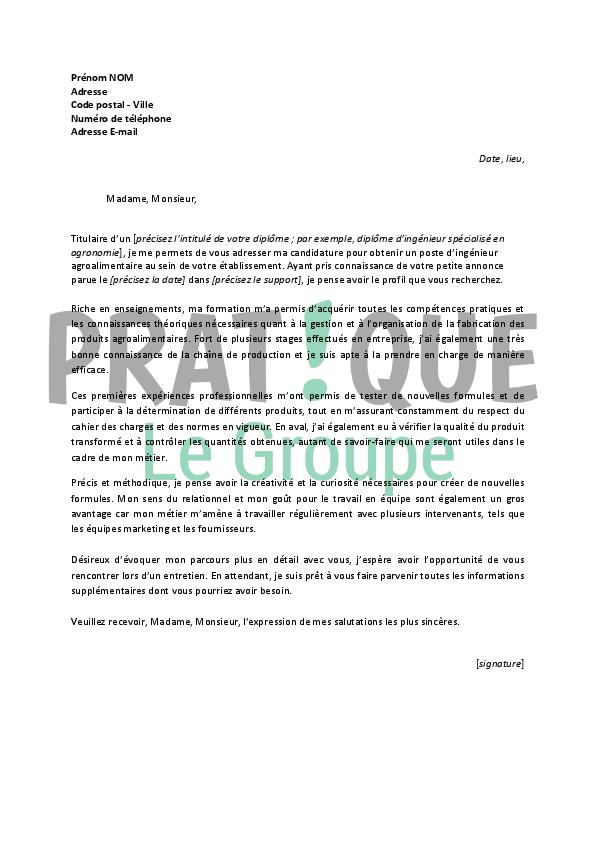 lettre de motivation pour un emploi d u2019ing u00e9nieur agroalimentaire d u00e9butant