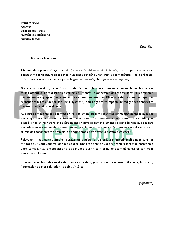 application letter sample  exemple de lettre de motivation pour un emploi ing u00e9nieur
