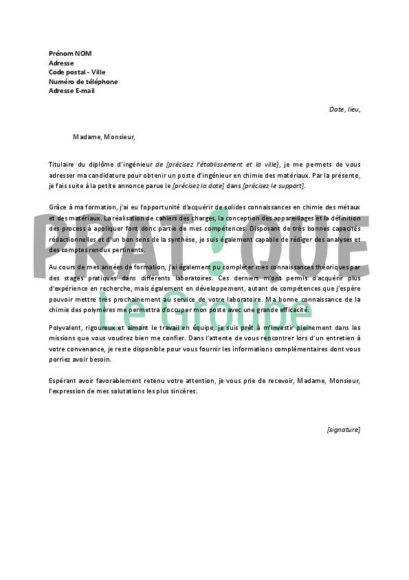 lettre de motivation pour un emploi d u2019ing u00e9nieur en chimie des mat u00e9riaux d u00e9butant