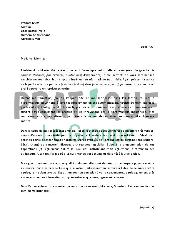 lettre de motivation pour un emploi d u2019ing u00e9nieur en informatique industrielle