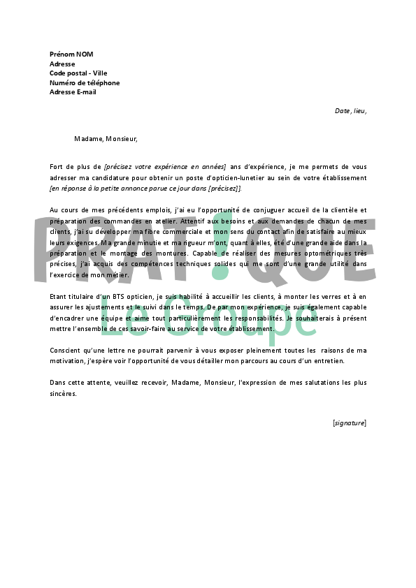exemple lettre de motivation opticien Lettre de motivation pour un emploi d'opticien lunetier confirmé  exemple lettre de motivation opticien