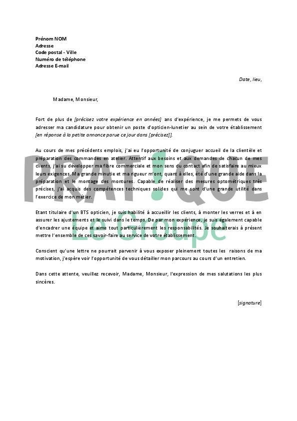 lettre de motivation pour un emploi d u2019opticien
