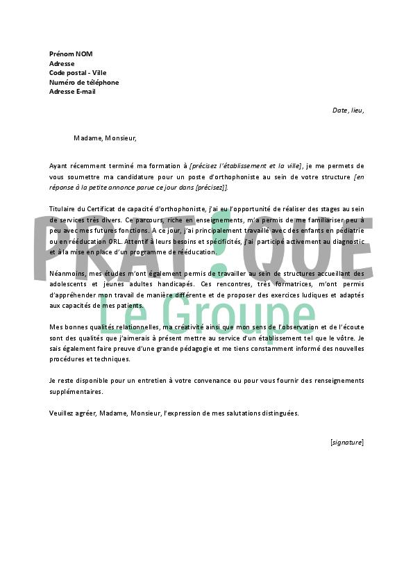 lettre de motivation pour un emploi d u2019orthophoniste d u00e9butant