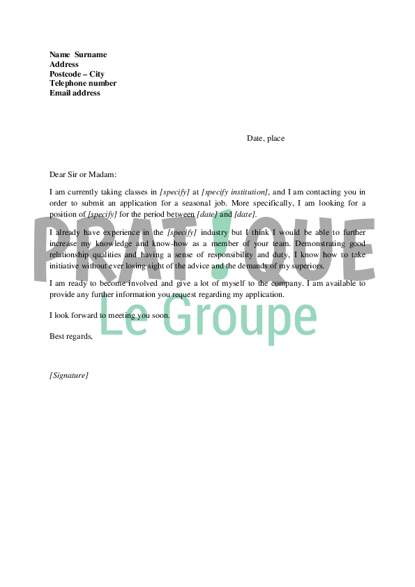lettre de motivation pour un stage