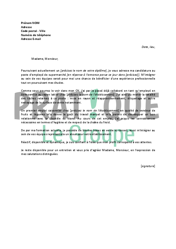 lettre de motivation pour un job  u00e9tudiant d u0026 39 employ u00e9 de supermarch u00e9