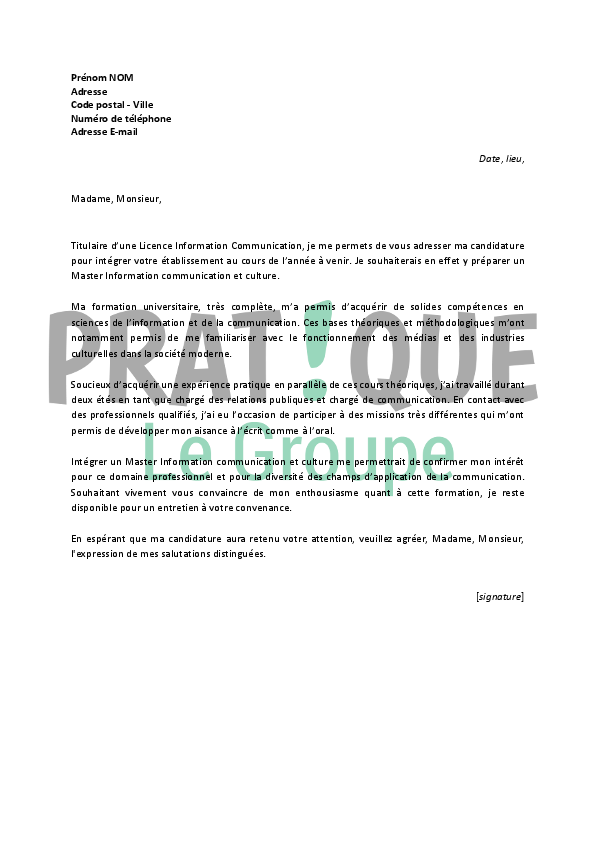 exemple de lettre de motivation pour s u0026 39 inscrire a l u0026 39 universite