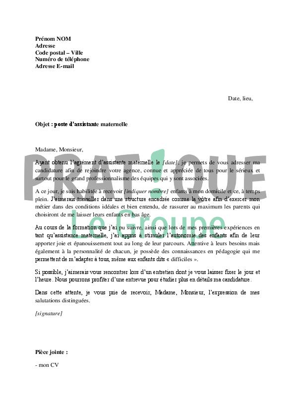 lettre de motivation pour un poste d u0026 39 assistante maternelle