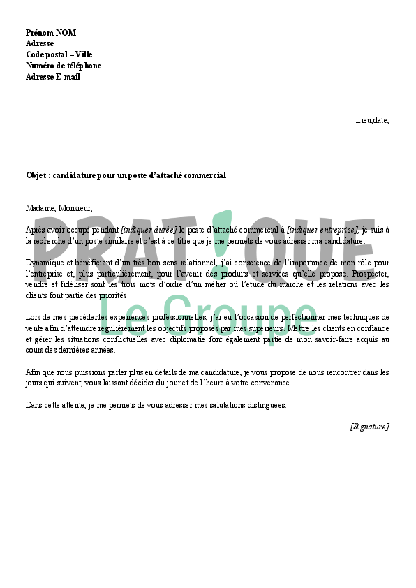 lettre de motivation pour un poste d u0026 39 attach u00e9 commercial