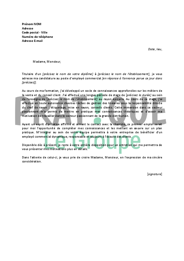 lettre de motivation pour un poste d u0026 39 employ u00e9 commercial d u00e9butant