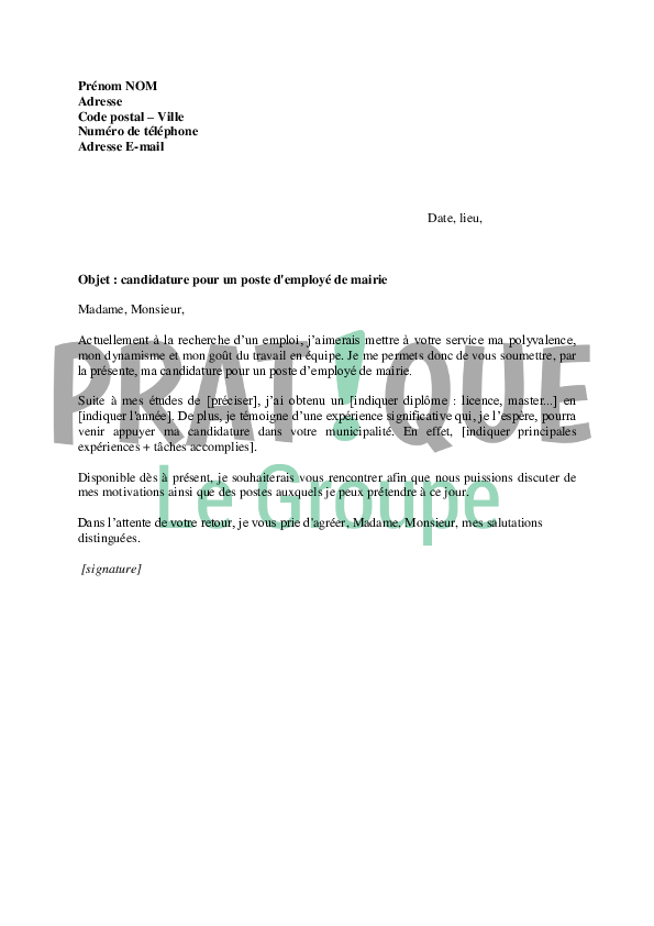 Lettre de motivation pour un poste d 39 employ de mairie for Employer espace vert