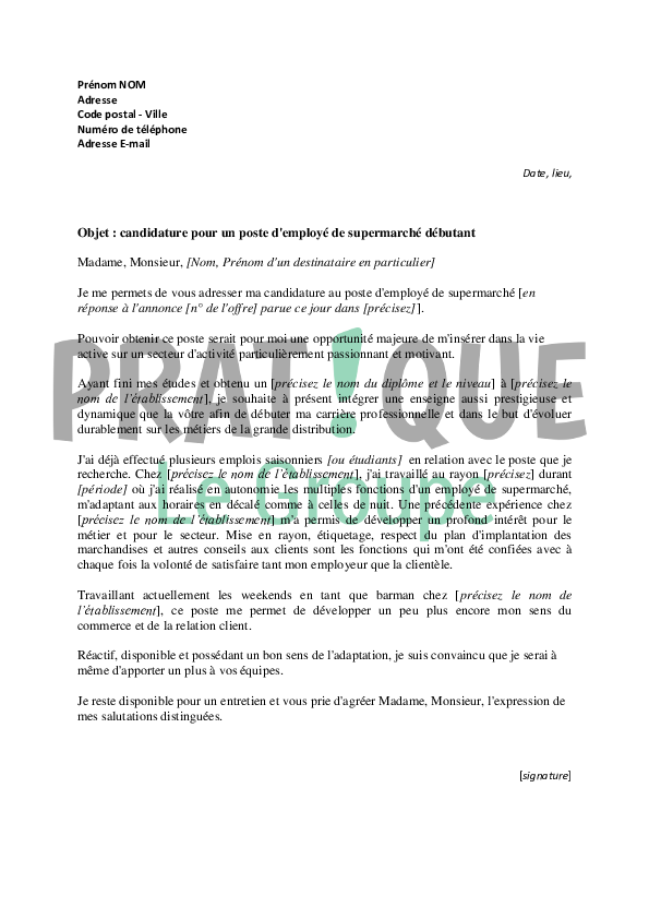 lettre de motivation pour un poste d u0026 39 employ u00e9 de supermarch u00e9 d u00e9butant