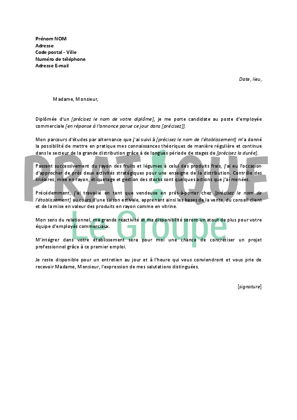 lettre de motivation pour un poste d u0026 39 employ u00e9e commerciale