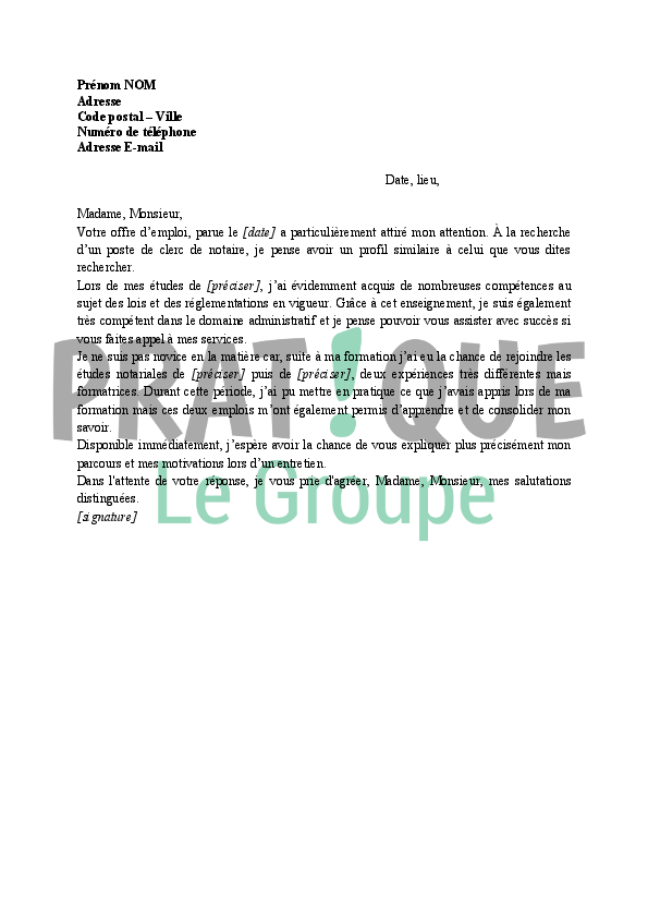 Lettre De Motivation Stage Notaire Stagiaire Words Wisr