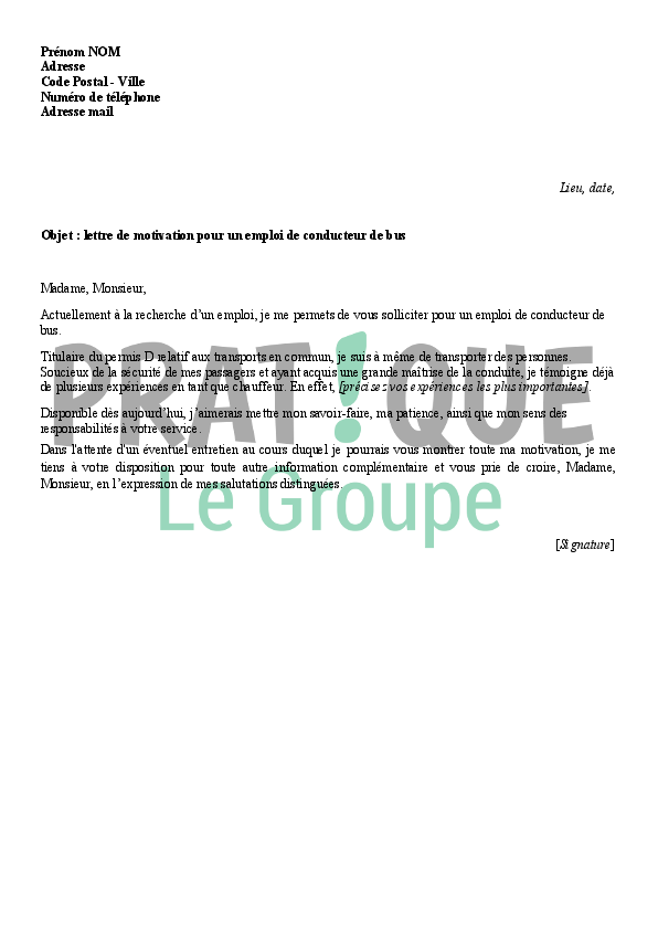 lettre de motivation pour un poste de conducteur de bus