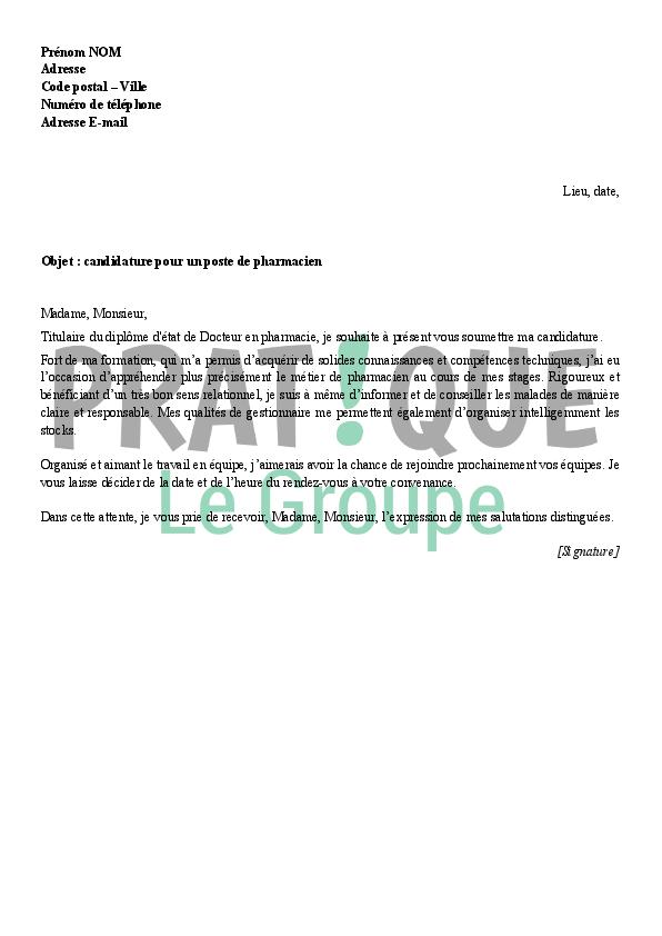 Lettre De Motivation Pour Un Poste De Pharmacien Pratique Fr