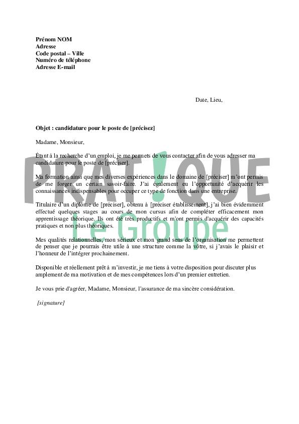 Lettre de motivation pour un premier emploi | Pratique.fr