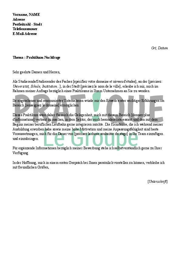 Lettre de motivation pour un stage (en allemand) | Pratique.fr
