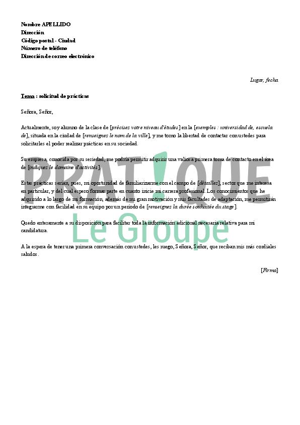 lettre de motivation pour un stage  en espagnol