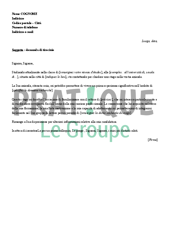 lettre de motivation en italien exemple Lettre de motivation pour un stage (en italien) | Pratique.fr lettre de motivation en italien exemple