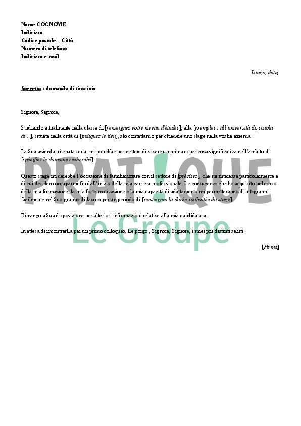lettre de motivation pour un stage  en italien