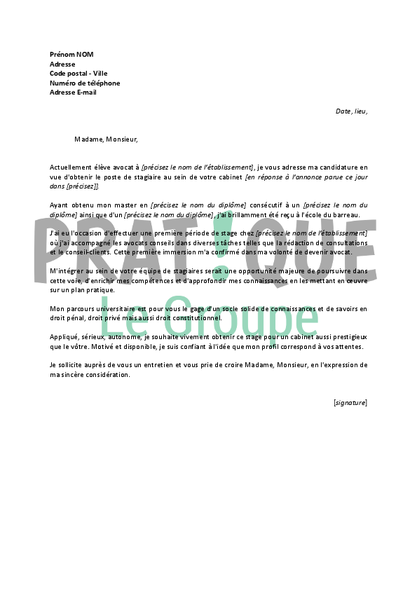 lettre de motivation pour un stage d u0026 39 avocat