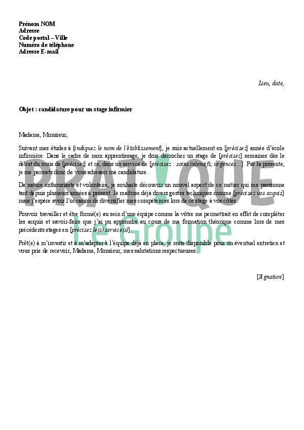 lettre de motivation pour un stage d u0026 39 infirmier